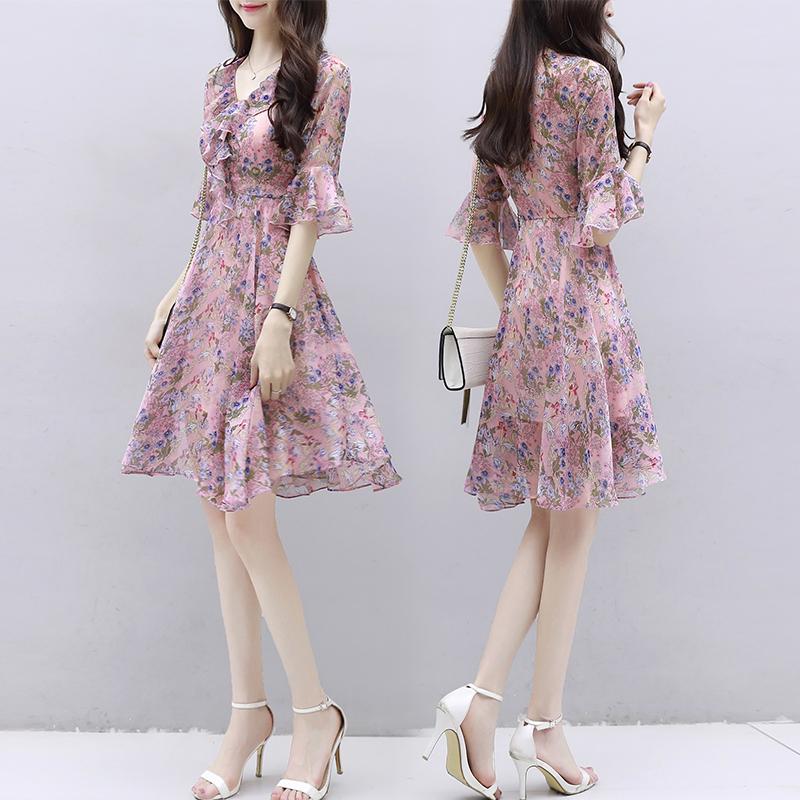 雪纺连衣裙女夏装2020年新款收腰显瘦气质超仙女小个子碎花长裙子