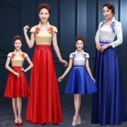 礼仪旗袍迎宾小姐中国风长袖短款青花瓷酒店学生接待合唱服装裙女