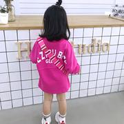 女童洋气t恤长款宽松休闲中长儿童打底衫长袖2020新款宝宝卫衣裙