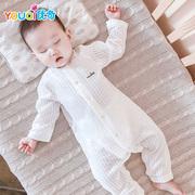 婴儿连体衣服纯棉新生幼儿宝宝睡衣薄款春装秋男夏天女夏季空调服