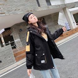 正品牌坦森马男工装棉衣女冬装新款学院风情侣中长款风衣加厚外套