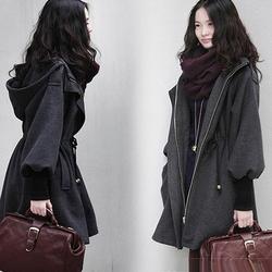 冬季中长款毛呢外套加厚加棉连帽斗篷大码女装胖MM200斤呢子大衣