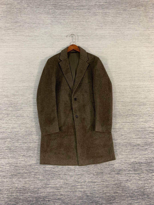 Lanvin/浪凡 羊驼毛羊毛双面呢灰咖绿男士大衣风衣外套