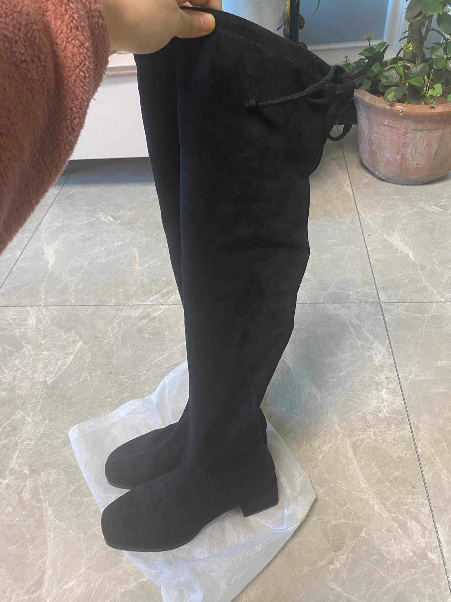 九九新西遇黑色过膝靴仅试穿未穿出门36码无瑕疵