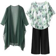 中年妈妈夏装短袖中老年人女装2021新款春装上衣服两件套大码套装