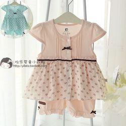 贝贝卡索童装女童夏装新款 宝宝桑蚕丝短袖开衫娃娃衫短裤套装841