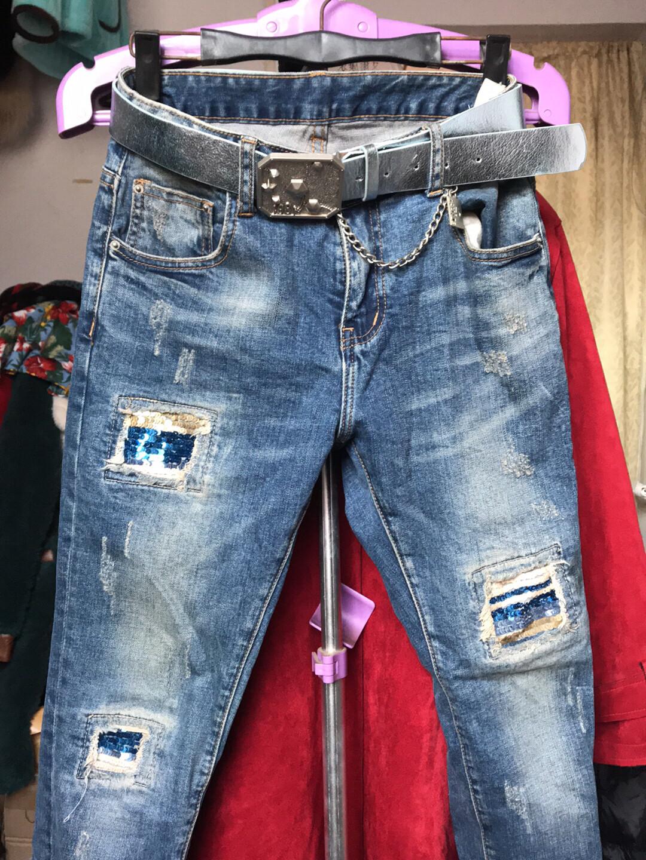 欧美做旧牛仔裤、25码…送腰带…新旧如图、没洗过,长裤、售出