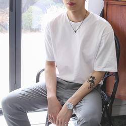 休闲百搭ins潮牌中学生夏季圆领宽松纯色纯棉白色短袖t恤男士潮流