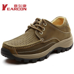 ER Kang genuine leather men's shoes with perforated breathable casual shoes leather shoes with hollow outdoor wear cushioned shoes