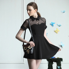 European retro sexy see-through chiffon stitching shirt collar short sleeve dress black high waist slim a-9044
