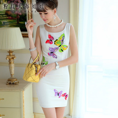 Dress big pink doll summer 2015 white colored butterflies inlaid precious stones vests printed dress