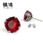 Hong Thai Silver 925 Silver yellow silver Ruby red vintage black diamond shiny zircon earrings ear jewelry for men and women