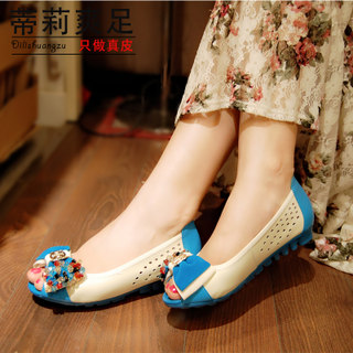 Women shoes leather women sandal comfort with flat fish mouth summer 2015 new flat heel casual hollow