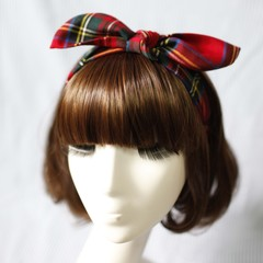 Europe and the old Brit classic red Plaid bow elastic hair band