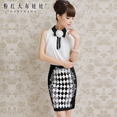 Skirt pink doll 2015 women new bump-retro printed in black and white Joker-hip skirt skirt