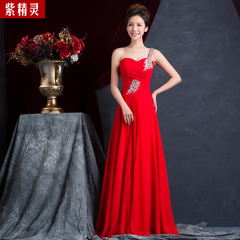 Bride toast clothing spring/summer 2015 new Korean fashion red slim one-shoulder long bi-fold door of marriage dress
