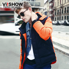 Viishow2014 winter men's cotton-padded clothes contrast color stitching hooded coat hooded stand collar coat-season clearance sale