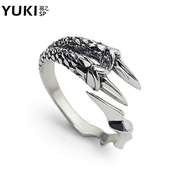YUKI jewelry man ring silver ring 925 Silver ring vintage couple female Dragon claw Thai silver pinky ring in Europe and America