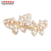 Smiling new faux Pearl hair Barrette Korea authentic Butterfly card clip spring clip headgear