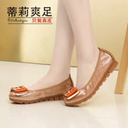 Leather flat bottom shallow round head metal career casual women's shoes shoes Tilly cool foot