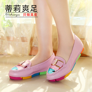 2015 new style shoes with Rhinestone flat with light shoes Rainbow shoes leather casual ladies flat shoes women shoes women