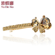 Ya na rhinestone hair clips Butterfly Crystal Barrette Korean hair female hair ACC top clamp Q0025