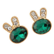 Fine jewelry new Korean rabbit animal earrings sprouting green Bunny Stud Earrings