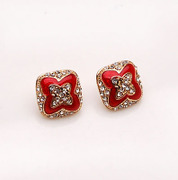 Smiling Korean version of the four-leaf clover rhinestone earrings earring earring earring Korea earloop accessory female 349931