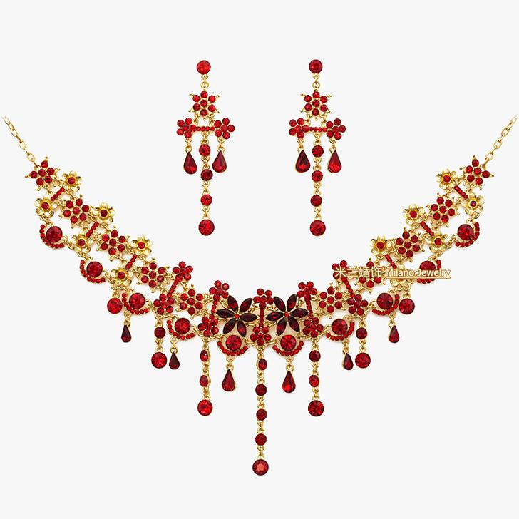 [转卖]新娘饰品金色水钻中式古典项链耳环额链眉心坠旗袍艺术照