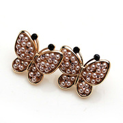 Smiling bead jewelry Butterfly Stud Earrings bow hypoallergenic ear Stud Earrings with diamonds