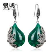 Hong 925 Silver jewelry, silver natural green agate silver drop earrings-Thai-style women large exaggeration eardrop