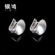 Hong 925 Silver jewelry, silver Thailand Bangkok Korean version of Silver earrings and old silversmiths hand-drawing drop female ear clip