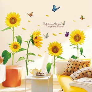 Removable wall sticker warm bedroom living room TV wall background sunflower decal decorative glass sticker