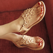 2015 Bohemian new beaded sandal shoe pinches the summer flower toe flat shoes Roman leisure