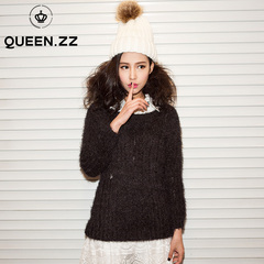 QUEENZZ Europe and the socialite wind season autumn/winter 2013 the new plush knit wool slim fit long sleeve dress #