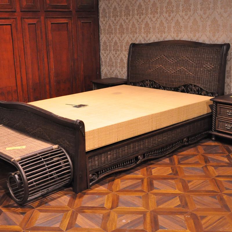 长青堂 藤艺床 欧式实木床1.8双人大床卧室藤木床橡木床1.5米床架