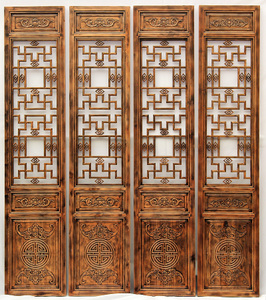 Wood carving double-sided screen partition folding screen living room bedroom porch Chinese retro solid wood folding mobile residential furniture