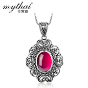 Thai Thai silver rubies jewelry women pendant carved Palace clavicle chain necklace retro accessories