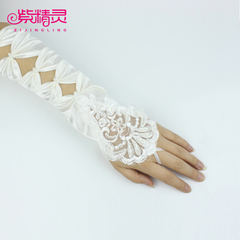 Purple Fairy hollow wedding accessories Bridal Gloves, long gloves fingerless wedding gloves lace beaded
