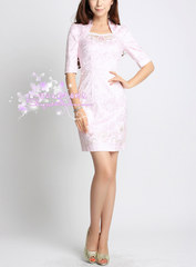 Waterfront ~ Mandarin collar hand counters cheongsam dress with sequins in sands point sleeves mini dress