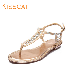 Kissing cats new rhinestone pinch sweet low toe leather sandal flats shoes K44307-03LA
