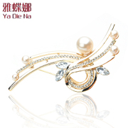 Ya na brooch Crystal rhinestone Pearl Korea full Rhinestone Pins collar chest flowers 0420