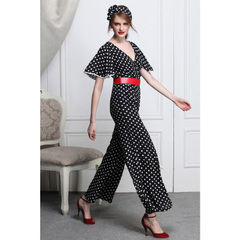 Retro black and white elegant Lotus Leaf sleeves v-neck chiffon high waist wide leg jumpsuit pants jumpsuit 9132