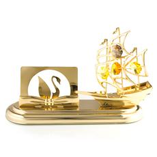 CRYSTOCRAFT一帆风顺水晶帆船名片座卡片座 商务友情礼品 送领导