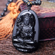 Opening natural Obsidian Buddha Zodiac is Patron Saint of the Buddha pendant men necklace