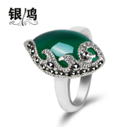Hong 925 Silver jewelry inlay natural green agate silver Swan vintage Thai silver fashion ring old silversmith ladies ring