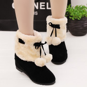 Short boots women in 2015 new autumn and winter boots with bow increased within women's winter boots, Martin boots student nude boots