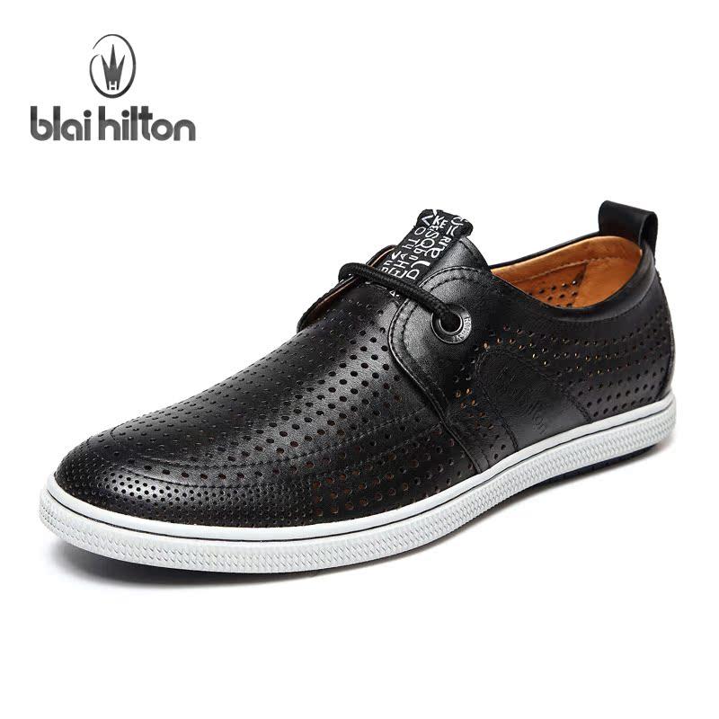 blal hilton/英伦真皮透气男鞋子 夏季打孔休闲板鞋