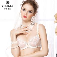 伊丝艾拉新品超薄单层围性感深V内衣蕾丝边通透多色款文胸18947