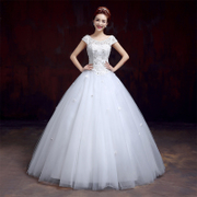 Wedding dress spring/summer fashion new 2015 Korean wedding lace flowers double shoulder plus size slimming word drill